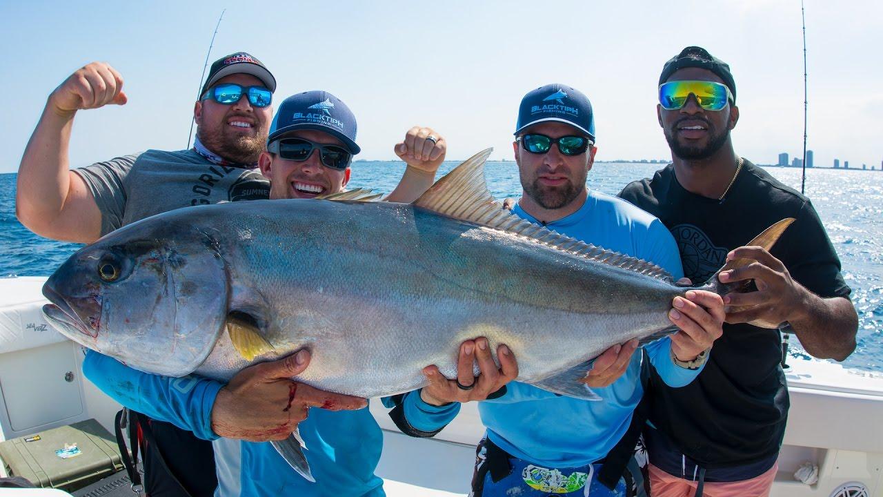 Amberjack Fishing Challenge — World Record Powerlifters vs NFL Linebacker — 4K