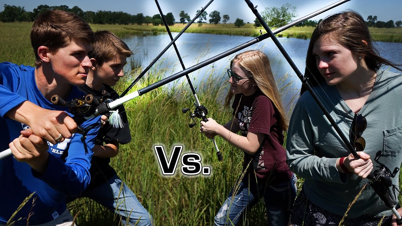 Brothers vs Sisters Fish Off! Pond Fishing Challenge
