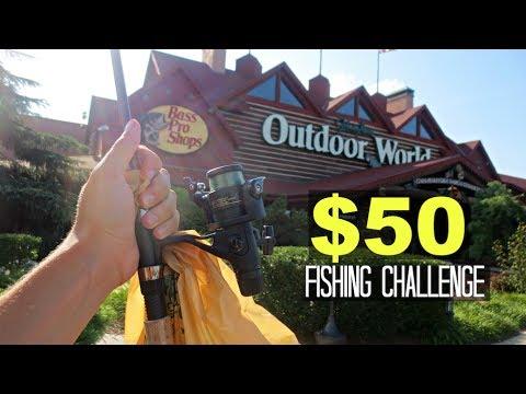 $50 Bass Pro Shops Fishing Challenge!! (Craziness!)