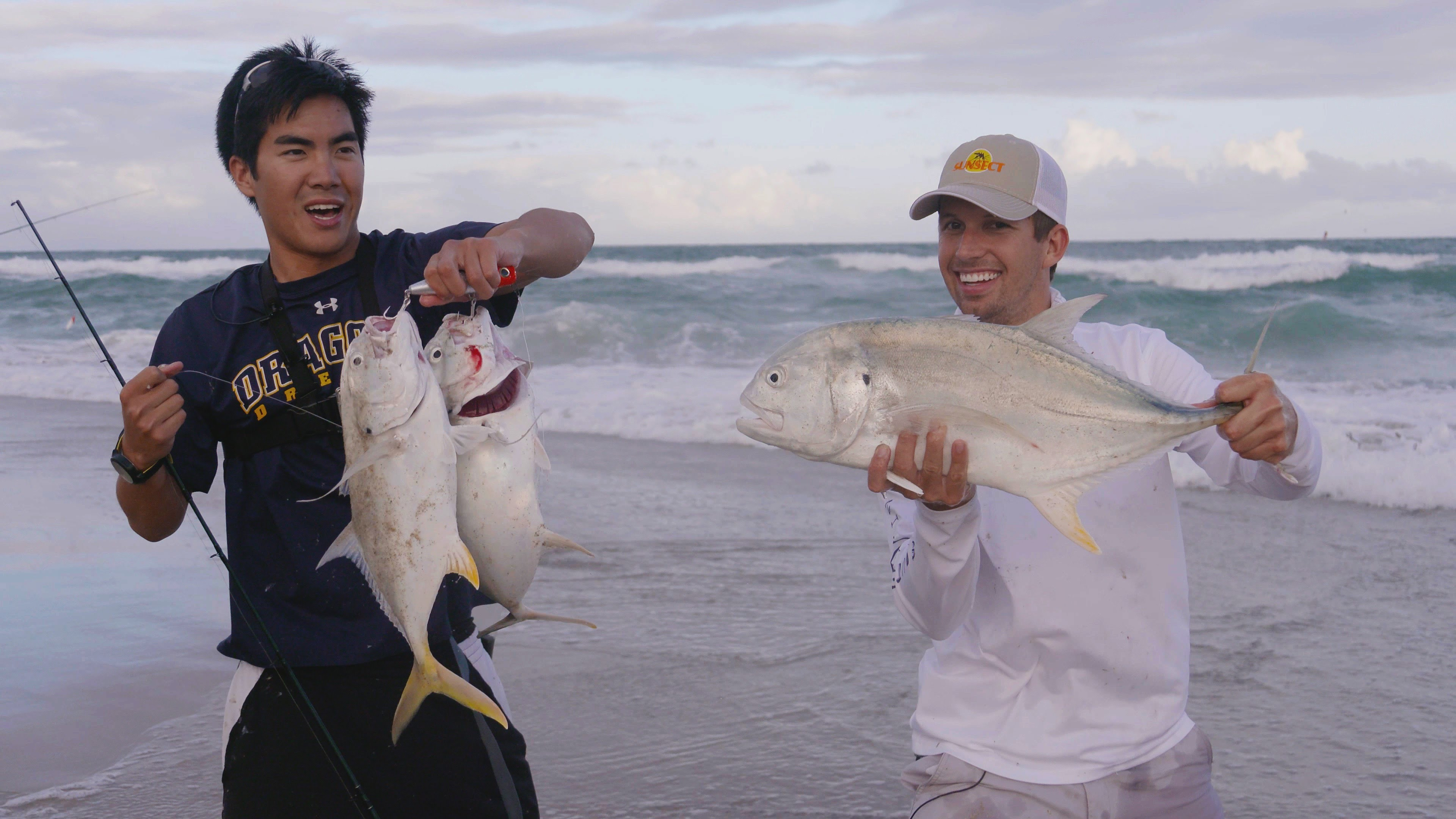Craziest Fishing Ever!!! Giant Jacks and Bluefish from the Beach in Florida (ft. BlacktipH)