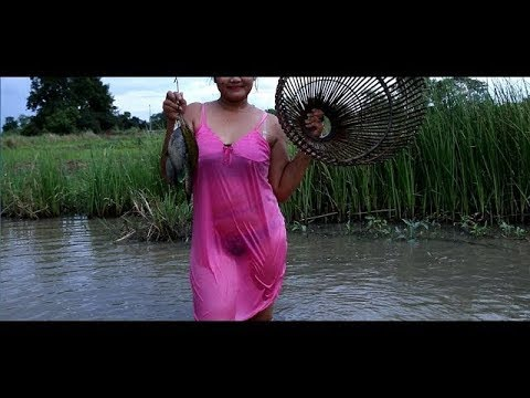 Amazing Fishing   Beautiful Girl Fishing at Pailin   How To Fishing With Bare Hands( Part 8)